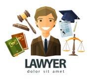 Avvocato, avvocato, progettazione di logo di vettore del giurista Immagini Stock Libere da Diritti
