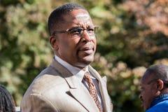 Avvocato di Malik Zulu Shabazz per Corey Long Arrest al tribunale di prima istanza di Charlottesville immagini stock libere da diritti