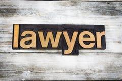 Avvocato Letterpress Word su fondo di legno fotografia stock
