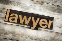 Avvocato Letterpress Word su fondo di legno fotografia stock libera da diritti