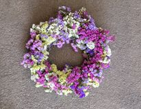 Avvolga la decorazione sulla porta della casa del limonium sinuatum o dei fiori di Salem di statice nei colori blu, lilla, viola, Fotografia Stock