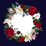 Avvolga la struttura, il confine - composizione dipinta a mano nel fiore di stile dell'acquerello illustrazione di stock