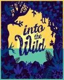 Avvolga le piante della giungla della natura e l'illustrazione piana del manifesto di viaggio di progettazione di vettore della v Immagine Stock Libera da Diritti