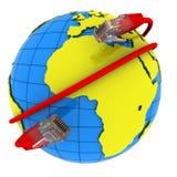 Avvolgere rossi del cavo del Internet intorno alla terra del pianeta Fotografia Stock Libera da Diritti