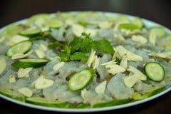 Aw garnalen en kruidige saus, zeevruchten Thailand Royalty-vrije Stock Foto's