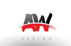 Aw une brosse Logo Letters de W avec l'avant de brosse de bruissement de rouge et de noir Photographie stock
