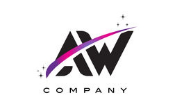 AW A W Black Letter Logo Design with Purple Magenta Swoosh Royalty Free Stock Photo