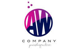 AW A W Circle Letter Logo Design with Purple Dots Bubbles Stock Photo