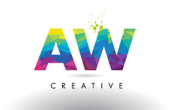 AW A W Colorful Letter Origami Triangles Design Vector. Royalty Free Stock Image