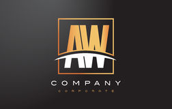 AW A W Golden Letter Logo Design with Gold Square and Swoosh. Stock Images