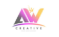 AW A W Letter Logo Design with Magenta Dots and Swoosh Stock Photo