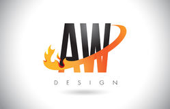 AW A W Letter Logo with Fire Flames Design and Orange Swoosh. Royalty Free Stock Photos