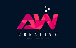 AW A W Letter Logo with Purple Low Poly Pink Triangles Concept Royalty Free Stock Images