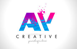 AW A W Letter Logo with Shattered Broken Blue Pink Texture Desig Stock Photography