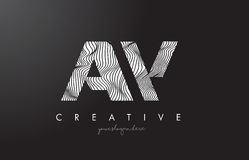 AW A W Letter Logo with Zebra Lines Texture Design Vector. Royalty Free Stock Photo