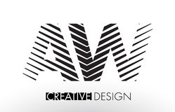 AW A W Lines Letter Design with Creative Elegant Zebra Royalty Free Stock Image