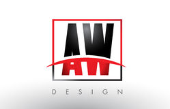 AW A W Logo Letters with Red and Black Colors and Swoosh. Royalty Free Stock Image