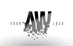 AW A W Pixel Letter Logo with Digital Shattered Black Squares Royalty Free Stock Photo