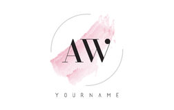 AW A W Watercolor Letter Logo Design with Circular Brush Pattern Stock Images