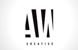 AW A W White Letter Logo Design with Black Square. Royalty Free Stock Photo