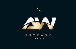 Aw a w  white yellow gold golden luxury alphabet letter logo ico Royalty Free Stock Photo