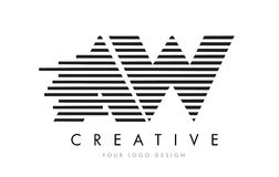 AW A W Zebra Letter Logo Design with Black and White Stripes Stock Image