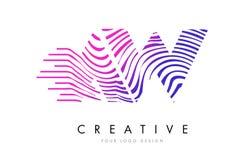 AW A W Zebra Lines Letter Logo Design with Magenta Colors Stock Photos