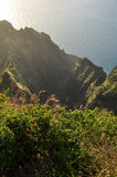Awa'awapuhi trail sunset. Sunset on Na Pali Coast seen from Awaawapuhi trail end on Kauai, Hawaii Royalty Free Stock Photos
