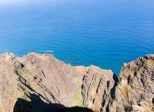 Awaawapuhi trail end on cliff above Na Pali coast on Kauai Stock Images