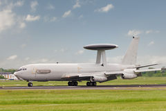 AWACS landing. A Boeing E-3 Sentry (AWACS) plane on runway after touchdown Stock Photography