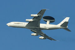 AWACS (No. 3). An AWACS air reconnaissance of the NATO of the type Boeing E-3A with the LX-N90452 ID on the way to a new order.  Started machine just by the Royalty Free Stock Photography
