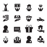 Awad for businessman icons set Stock Images
