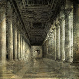 Awaiting. Eye at the end of Roman columns. Photo based illustration Royalty Free Stock Image