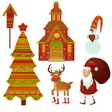 Awaiting Christmas. Christmas symbols isolated over white Royalty Free Stock Images