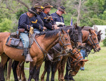 Awaiting Orders. Civil War era soldiers in battle at the Dog Island reenactment in Red Bluff, California stock image
