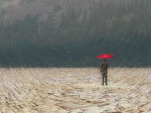 Awaiting storm. Surreal digital art. Man with red umbrella in dry land under gathering storm Royalty Free Stock Photos