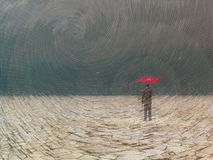 Awaiting storm. Surreal digital art. Man with red umbrella in dry land under gathering storm Stock Photos