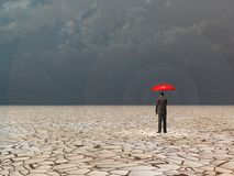 Awaiting storm. Surreal digital art. Man with red umbrella in dry land under gathering storm. Human elements were created with 3D software and are not from any Royalty Free Stock Photos
