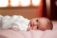 Awake little newborn Royalty Free Stock Image