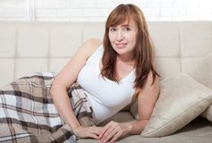 Free Awake Middle Aged Woman In Bed. Home Background And Copy Space. Mock Up. Menopause Royalty Free Stock Photography - 111100777