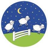 Awake at night. Counting sheep. Insomnia illustration bubble. Awake at night. Counting sheep. Insomnia vector illustration bubble Royalty Free Stock Photos
