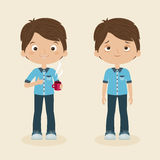 Awake and sleepy boys. Two boys/men characters: awake and cheerful with cup of coffee and sleepy or tired. Vector cartoon illustration Royalty Free Stock Photography