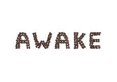 AWAKE written with coffee beans Stock Image
