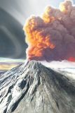 Awakening. A volcano comes to life after being dormant Stock Photo