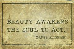 Awakens soul Dante. Beauty awakens the soul to act - ancient Italian poet and philosopher Dante Alighieri quote printed on grunge vintage cardboard Stock Photos