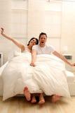 Awaking couple Royalty Free Stock Images