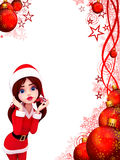 Awaking santa girl in red background Stock Images