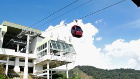 Awana Skyway cable car is a gondola lift system connecting Chin Swee Temple ,Awana Transport Hub and SkyAvenue in Genting Highland. Genting Highlands, Malaysia stock video