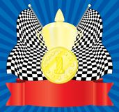 The award. 1-st position. Vector illustration. On an abstract background Royalty Free Stock Images