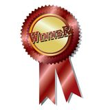 Award badge. Winner badge award  illustration red ribbon  isolated over white background Royalty Free Stock Photography
